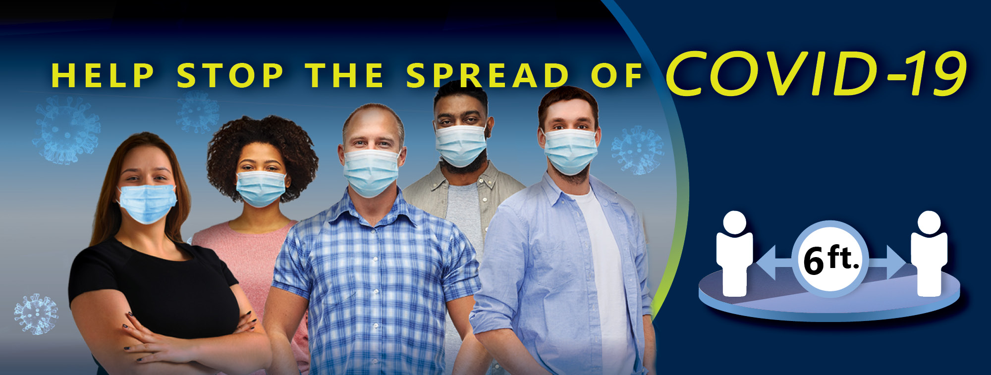 """Picture of people wearing masks with title that readhe Spread of COVID-19""""."""