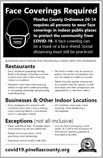 "Picture of a black and white 11-inch by 17-inch sign that has the headline ""Face Coverings Required"" and additional information. Click the image for the PDF."