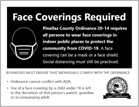 "Picture of a black and white sign that has the headline ""Face Coverings Required"" and additional information. Click the image for the PDF."