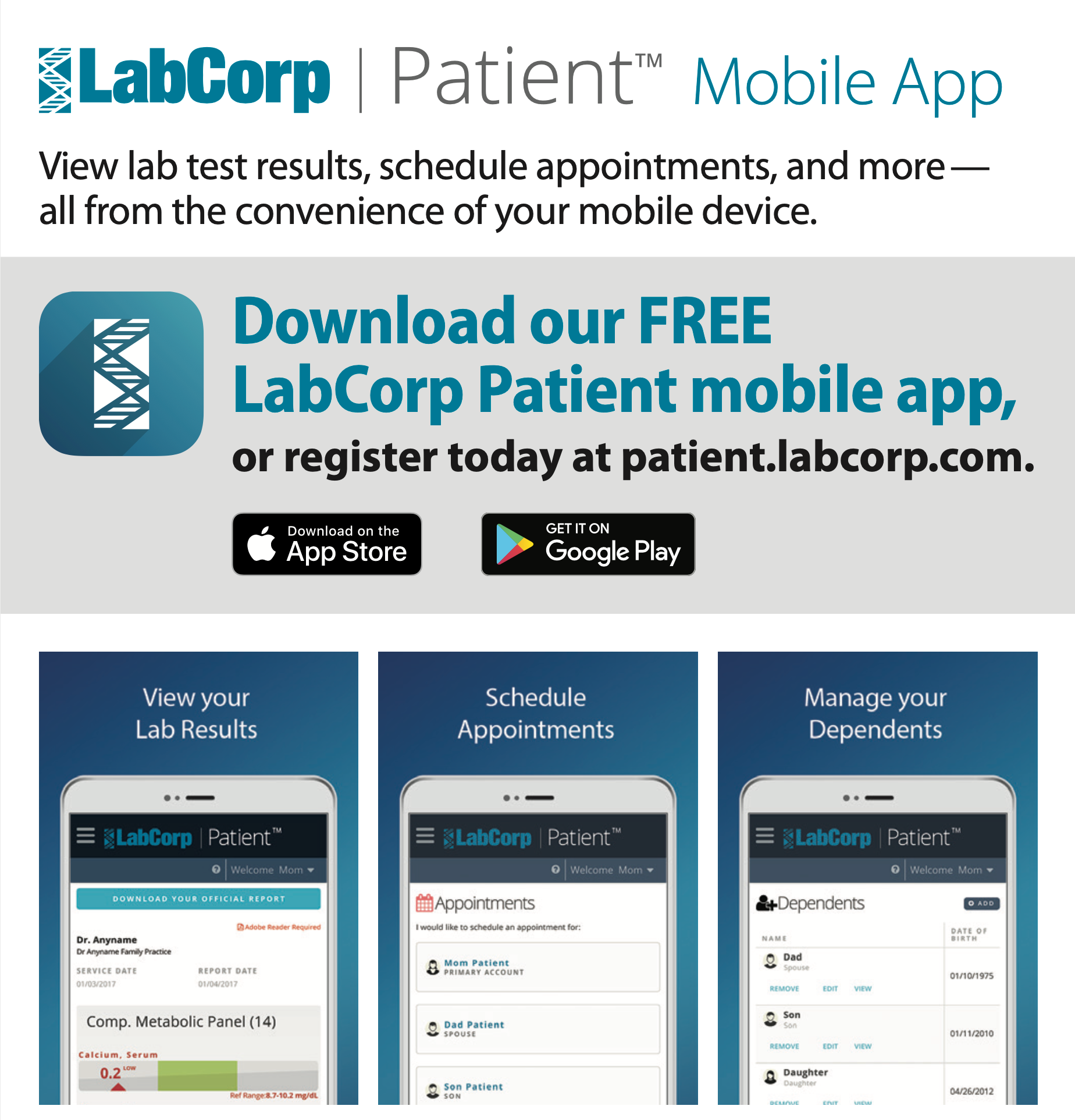 Graphic describing Lab Corp Patient Mobile App. Click on image to view the accessible PDF.