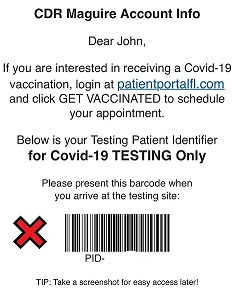 Example of a barcode used for Testing appointments.